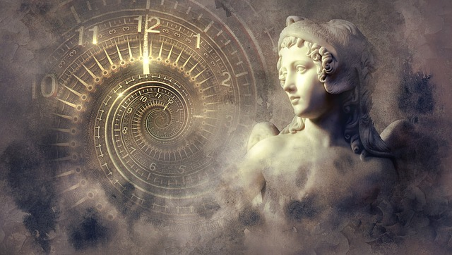 https://pixabay.com/photos/fantasy-clock-statue-light-spiral-2879946/